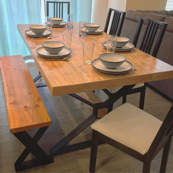 Awesome Rustic Modern Dining Table And Bench Andrewgaddart Wooden Chair Designs For Living Room Andrewgaddartcom