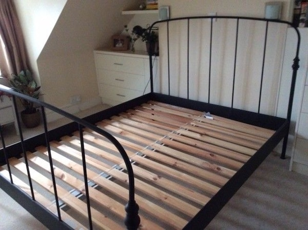 Used Queen Ikea Lillesand Vintage Style Black Iron Bed Frame For