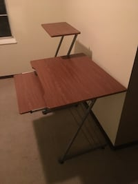 brown wooden table with black metal base Peoria, 61615