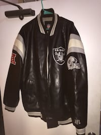 RAIDERS NFL XXL Leather Jacket   Used & In Good Shape. Could use a clean up. Name written in inner of jacket  $80  Fremont pickup Fremont, 94555