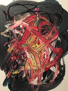 red, yellow, white, and black abstract painting