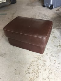 brown square leather ottoman