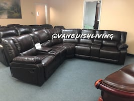 Brand New Espresso Reclining Sofa Sectional 2 Chairs Cup Holders
