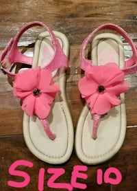 pair of pink-and-white leather sandals Burlington