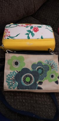 Two yellow and green floral purses, one new, one used. Make offer Mahanoy City, 17948
