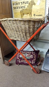 Vintage Laundry Basket and Folding Metal Stand