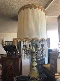 Two large alabaster brass candelabra lamp comes with shades Vaughan, L4K 3B9