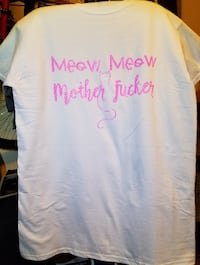 "Size Medium T-shirt Glitter Print ""Meow Meow Mother F****r"" Eustace"