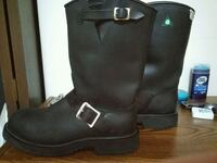 pair of black leather boots steel toe Maple Ridge, V2X 0L8