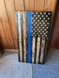 American Flag- Wooden Thin Blue Line  East Islip, 11730