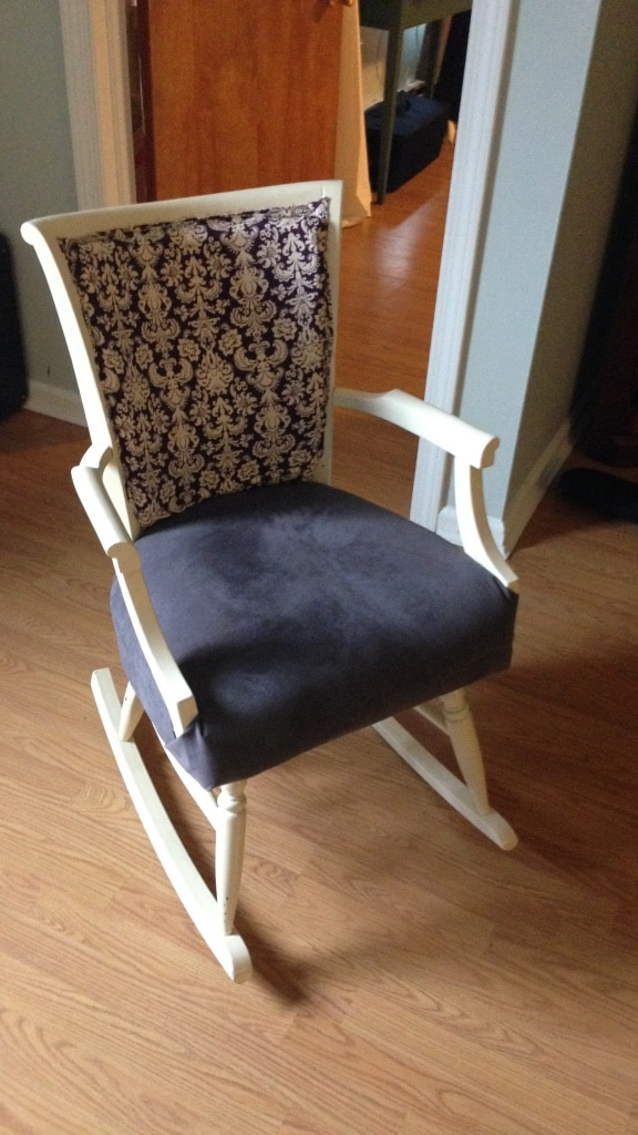 White Wooden Frame Suede Padded Rocking Chair