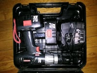 black and gray cordless power drill with case 368 mi