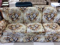 white and red floral 3-seat sofa