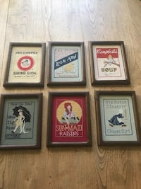 "Set of 6 old fashioned cross stitch wall decorations 9"" x 7"" frames"