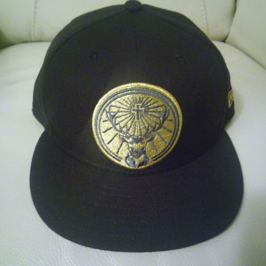 NEW: black NEW ERA jagermeister baseball cap snap back  Gold embroider