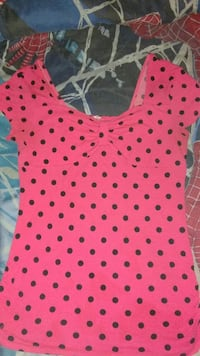 Women's red and black dotted blouse
