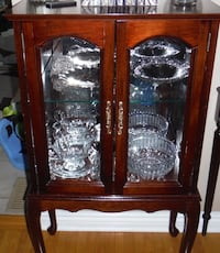 Brown Small Glass Curio Cabinet Display. Toronto, M2J 3M9