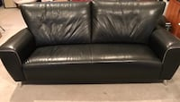 Townhouse Contemporary Black Italian Leather Sofa with Accent Piping 16 mi