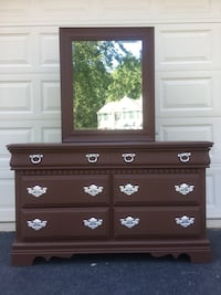 Bassett Furniture Solid Wood Long Dresser With Mirror Chocolate Brown With Silver Handles  Manassas, 20112