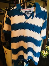 men's blue and white striped polo shirt Winnipeg, R3T 2J9