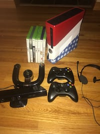 Custom xbox 360 console with controllers and game cases