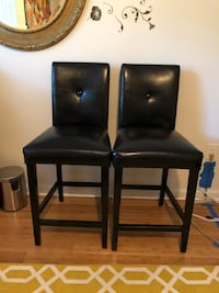 Black faux leather bar chairs Reston, 20191