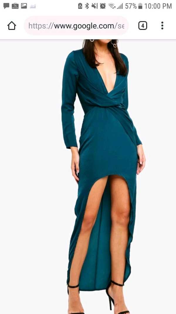 Missguided satin high low twist front dress
