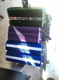 green, purple, gray, and blue car amplifiers