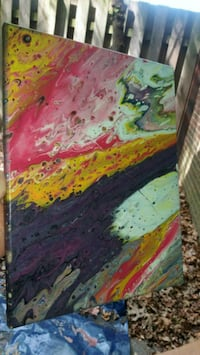 Pink, yellow and purple abstract painting 11x14  St. Louis