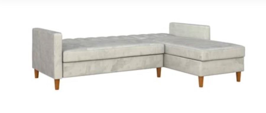 Futon Sectional with Storage (Velvet Light Gray) ***Assembly Required defdfbcd-0be9-4c44-b413-ef25ebf3cfbe
