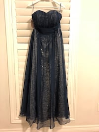 Navy Chiffon and Silver Sequins Gown