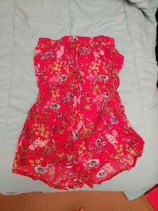 red and beige floral dungarees shorts