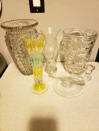 4 Glass Vases & 1Vintage  Double Candle Holder  Toronto, M6N 3S4