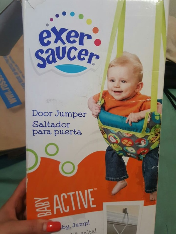 f746b5d71293 Used baby s green Exer Saucer hanging jumperoo box for sale in San ...