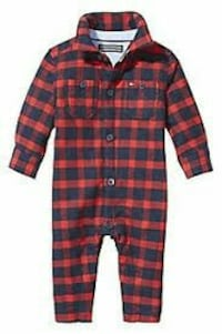 black and red plaid button up onesie Montana