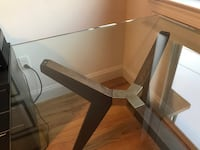 "Crate and Barrel Strut Bourbon Glass Top Table 70"" Weehawken"