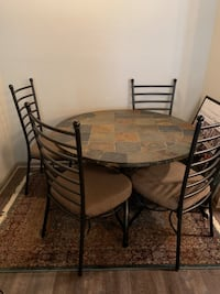 Stone Dining Table with 4 Chairs