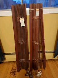 """2 brown wood blinds 44""""×78"""""""