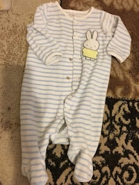 toddler's blue and white striped footie pajama