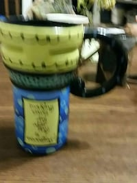 yellow, black, and blue ceramic tumbler Harrisburg