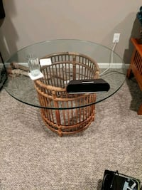 Glass coffee table with wicker base Laurel, 20723