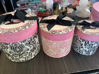 Set of 3 Decorative Storage Boxes Pink, Black & White with Lids Fishers, 46037