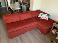 "Restoration Hardware Sectional Couch, Maroon Fabric, 8' x 5'2"", $300"