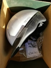 white and black Troxel nut shell helmet