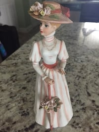 Brown haired female ceramic figurine
