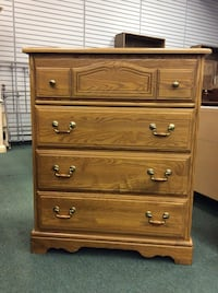 "Vintage golden oak Four Drawer Chest of drawers. 34.5""W x 18""D x 42.25""H Heath, 43056"