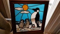 Vintage Stained Glass Penguin Picture Niagara Falls