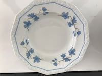 White and blue porcelain Rosenthal Soup large rimmed bowls Fleetwood, 19522