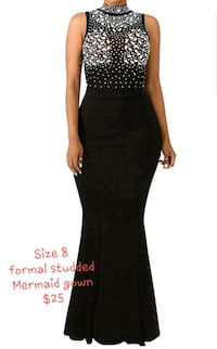 Black formal mermaid gown with beaded design  Reston, 20190