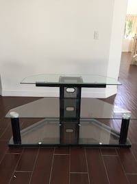 Black glass top tv stand 3 tier